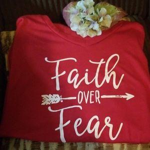 Tops - Faith over Fear t shirt burgundy 3xl